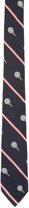 Thom Browne Navy Silk Tennis Tie $190 thestylecure.com