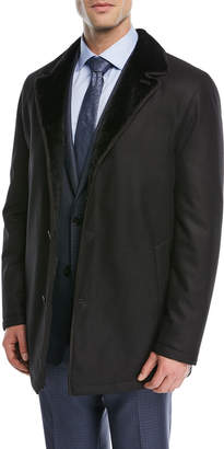 Mandelli Rabbit-Lined Wool Car Coat