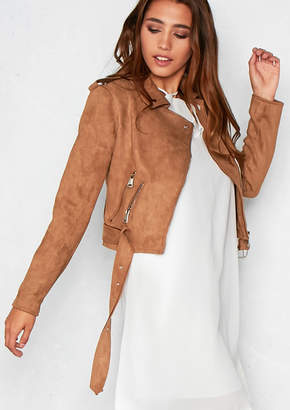Missy Empire Missyempire Minnie Brown Suede Biker Jacket