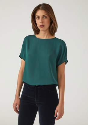 Emporio Armani Short Sleeved Top In Double Silk Georgette