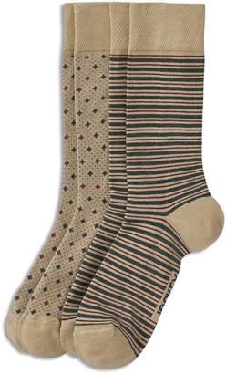 Jockey Two-Pack Striped Dot Dress Crew Socks
