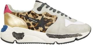 Golden Goose Running Sole Leopard Calf Hair Sneakers
