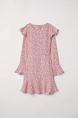 H&M Patterned Flounced Dress - Pink