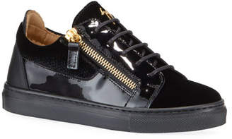 Giuseppe Zanotti London Patent Leather & Velvet Low-Top Sneakers, Baby/Toddler