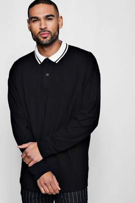boohoo Oversized Polo In Long Sleeve With Tipped Collar