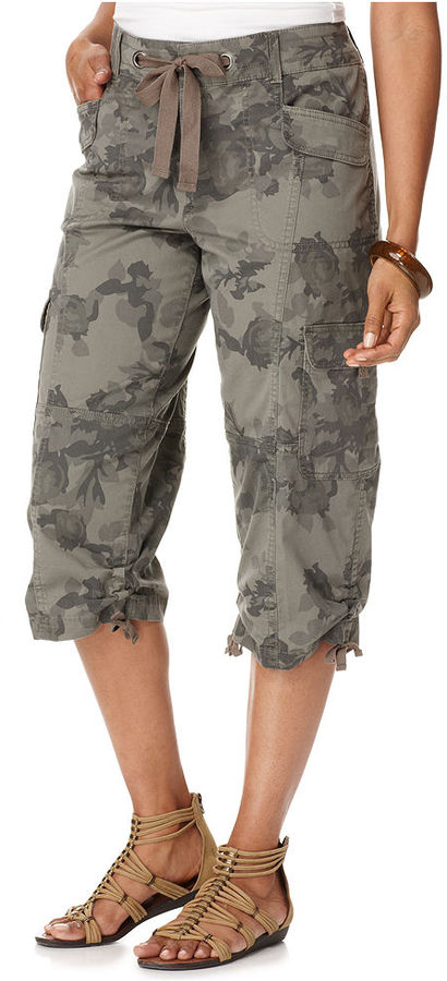 Style&co. Pants, Cargo Floral Print Camouflage Cropped