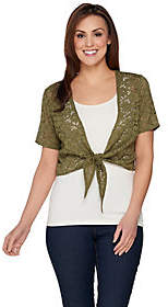 Denim & Co. Lace Short Sleeve Tie Front StretchLace Shrug