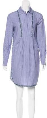 Thakoon Fringe-Trimmed Striped Dress
