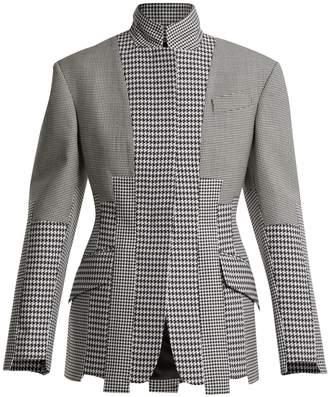 Alexander McQueen Panelled-houndstooth wool jacket
