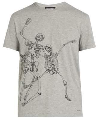 Alexander McQueen Skeleton Print Cotton Jersey T Shirt - Mens - Grey