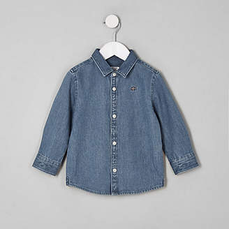 River Island Mini boy blue wasp embroidered denim shirt