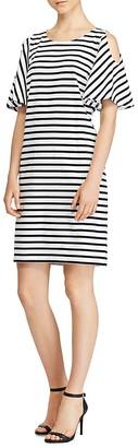 Lauren Ralph Lauren Stripe Cold-Shoulder Dress - 100% Exclusive $99.50 thestylecure.com