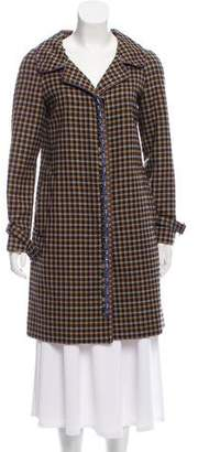 Prada Leather-Trimmed Wool Coat