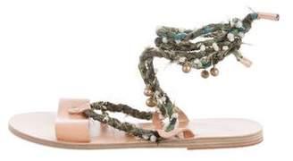 Ancient Greek Sandals Leather Lace-Up Flat Sandals
