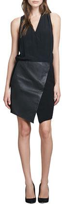 Tibi V-Neck Silk & Leather Combo Dress