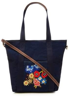 Mantaray Navy Floral Embroidered Denim Shopper Bag