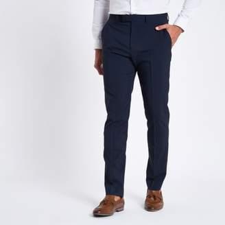 River Island Dark blue stretch slim fit suit pants