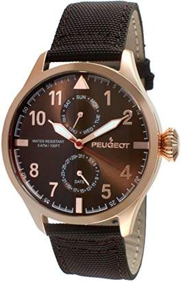 Peugeot Men's 14K Rose Gold Plated Brown Nylon Band Day Date Calendar Aviator Weekend Watch 2044RBR