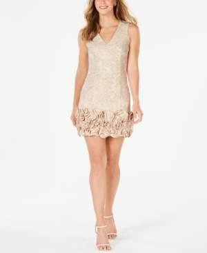 Donna Ricco Metallic Rosette Sheath Dress