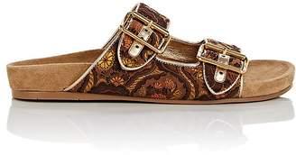 Prada Women's Floral Brocade Double-Band Slide Sandals