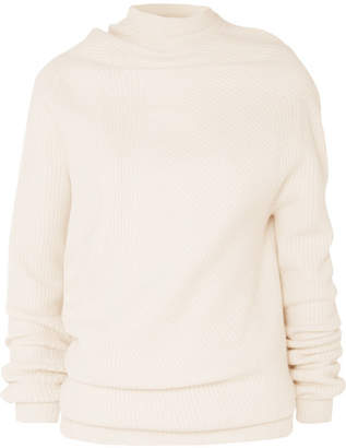 Jil Sander Aymmetric Ribbed Wool And Cashmere-blend Sweater - Cream