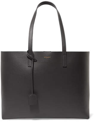 Saint Laurent Shopper Large Textured-leather Tote - Gray