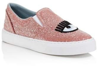 Chiara Ferragni Women's Embroidered Glitter Slip-On Sneakers