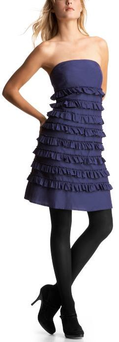 Strapless tiered ruffle dress