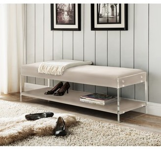 Chic Home Fairbanks PU Leather Modern Contemporary Flat seat Bottom Shelf Bench, Black