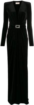 Alexandre Vauthier jewelled-buckle velvet gown