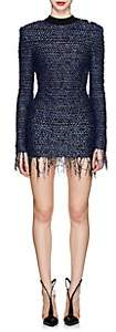 Balmain Women's Tweed Fitted Minidress - Blue