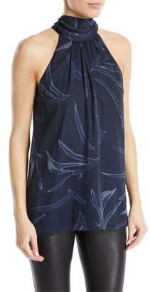 Halston Mock-Neck Printed Silk Blouse
