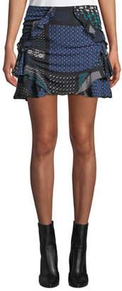 Derek Lam 10 Crosby Ruched Printed Ruffle Mini Skirt