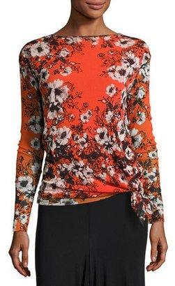 Fuzzi Long-Sleeve Floral-Print Tie-Hem Top, Fiamma Multi $395 thestylecure.com