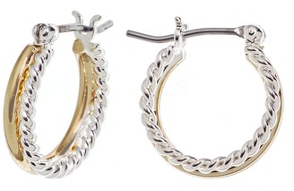 Napier Two Tone Double Hoop Earrings