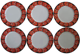 One Kings Lane Vintage Taitu Porcelain Hibiscus Plates Set of 6