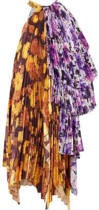 Richard Quinn - Asymmetric Embellished Floral-print Satin Midi Dress - Purple