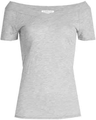 Velvet Off-Shoulder T-Shirt with Cotton