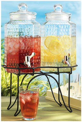 Home Essentials Hammered 2Gal Double-Jug Beverage Dispenser On Rack