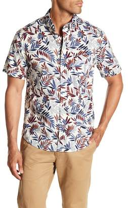 MODERN LIBERATION Short Sleeve Color Leaf Print Regular Fit Shirt