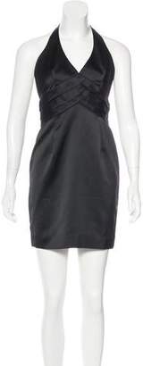 Carmen Marc Valvo Halter Neck Mini Dress