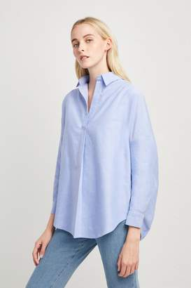 French Connenction Chambray-Linen Blend Popover Shirt