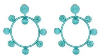 Oscar de la Renta Silk Ball Hoop Earrings