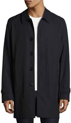 Burberry Gabardine Single-Breasted Rain Coat, Navy $1,795 thestylecure.com