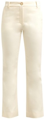 Valentino Mid Rise Wool Blend Flared Trousers - Womens - Ivory