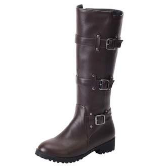 Artfaerie Women's Flat High-Top Buckle Knee High Boots Low Heel British Style Large Size Boots with Zip(US 14, )