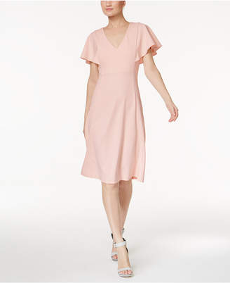 Calvin Klein Flutter Sleeve A-Line Dress $134 thestylecure.com