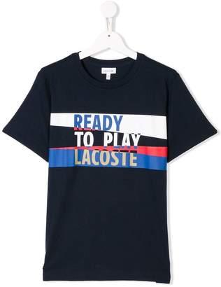 Lacoste Kids TEEN slogan logo print T-shirt