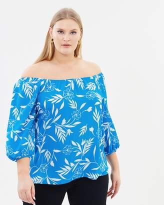 Evans Tropical Printed Bardot Top