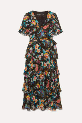 Etro Ruffled Floral-print Silk-chiffon Wrap-effect Dress - Black